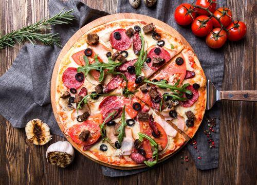pizza en wijn